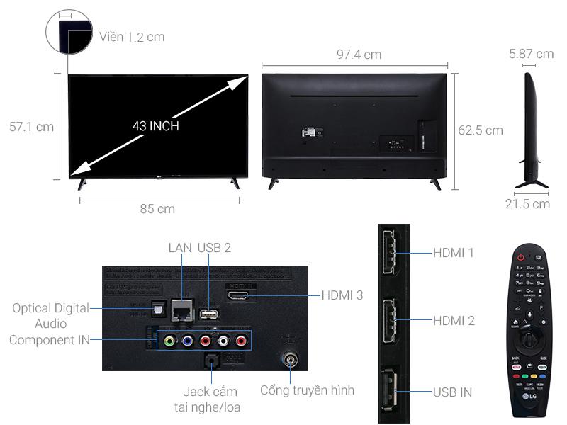 Thông số kỹ thuật Smart Tivi LG 4K 43 inch 43UJ633T