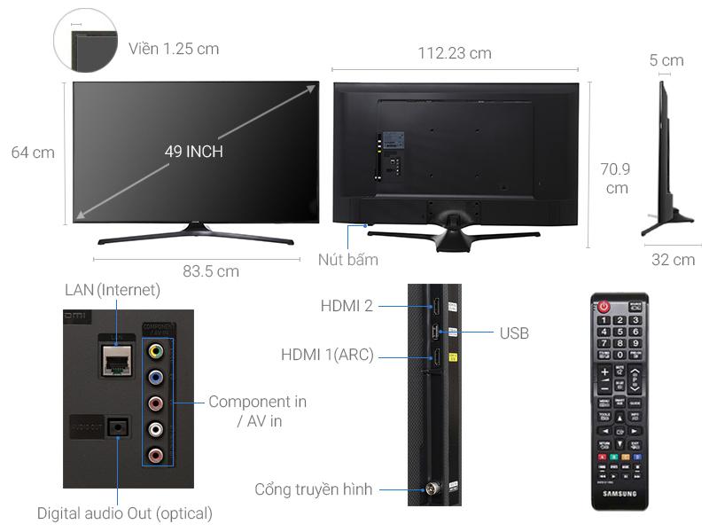 Thông số kỹ thuật Internet Tivi Samsung 49 inch UA49J5200