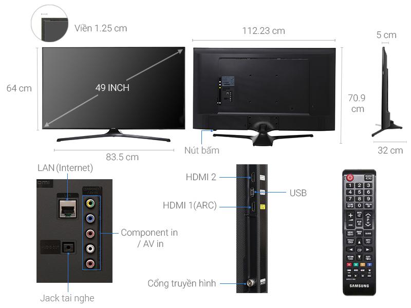 Thông số kỹ thuật Tivi Samsung 49 inch UA49J5200