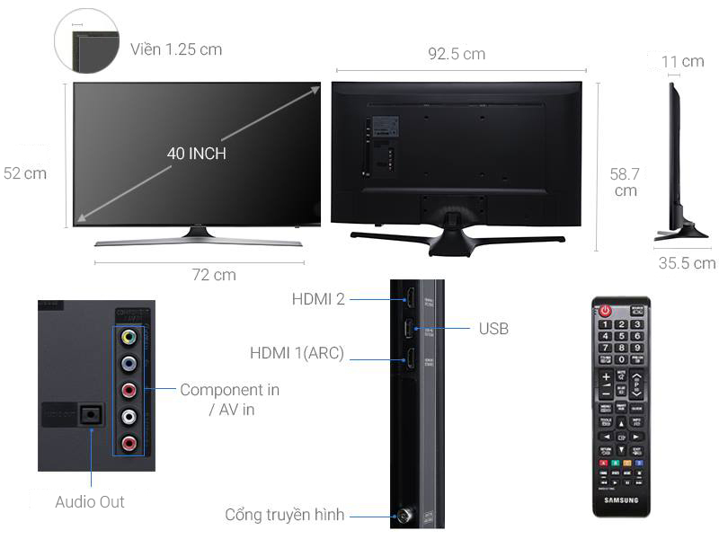 Thông số kỹ thuật Tivi Samsung 40 inch UA40M5000