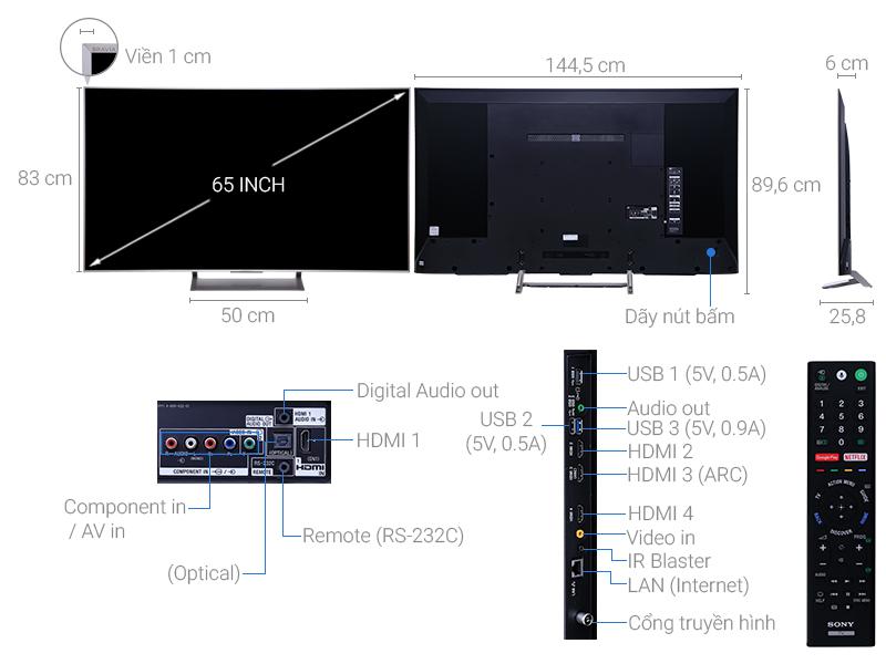 Thông số kỹ thuật Android Tivi Sony 65 inch KD-65X9000E/S