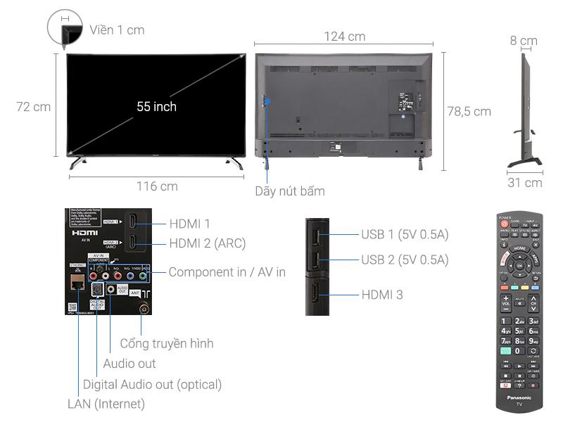 Thông số kỹ thuật Smart Tivi Panasonic 55 inch TH-55ES500V