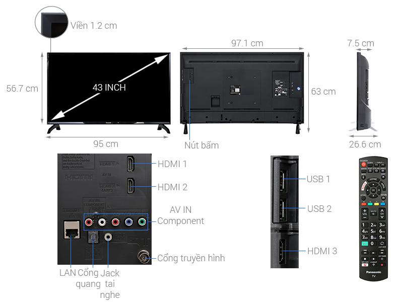 Thông số kỹ thuật Smart Tivi Panasonic 43 inch TH-43ES500V