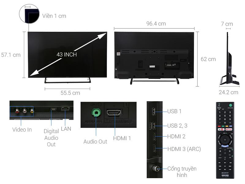 Thông số kỹ thuật Internet Tivi Sony 4K 43 inch KD-43X7000E