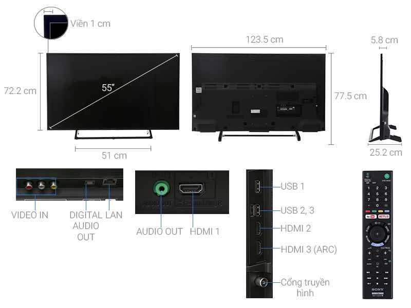 Thông số kỹ thuật Internet Tivi Sony 4K 55 inch KD-55X7000E