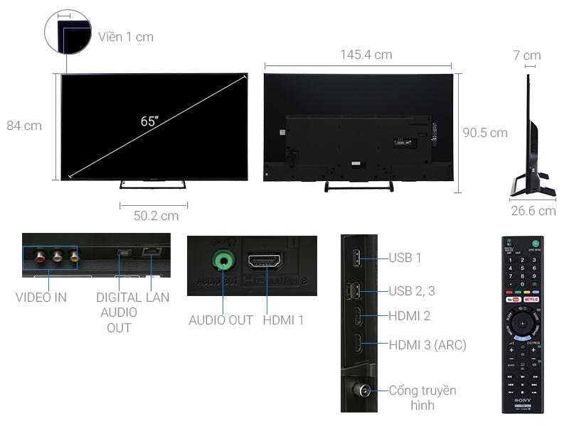 Thông số kỹ thuật Internet Tivi Sony 4K 65 inch KD-65X7000E