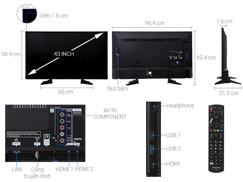 Thông số kỹ thuật Smart Tivi Panasonic 43 inch TH-43EX605V