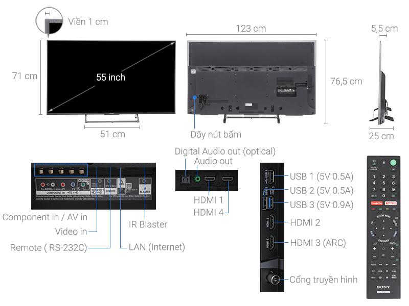 Thông số kỹ thuật Android Tivi Sony 4K 55 inch KD-55X8000E
