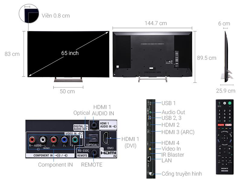 Thông số kỹ thuật Android Tivi Sony 4K 65 inch KD-65X9000E