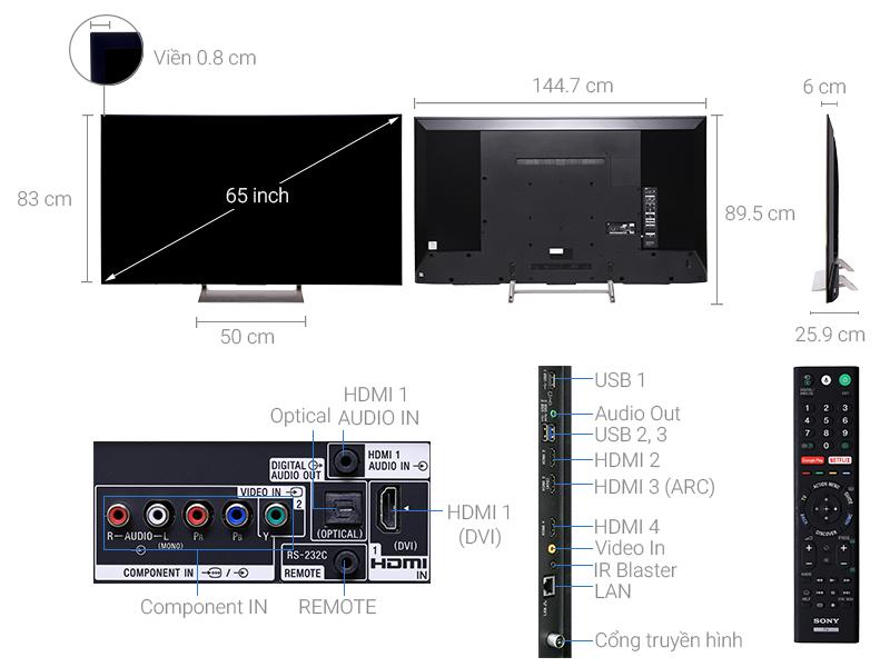 Thông số kỹ thuật Smart Tivi Sony 4K 65 inch KD-65X9000E