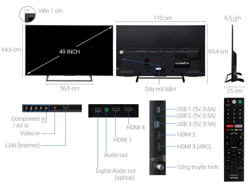 Thông số kỹ thuật Android Tivi Sony 4K 49 inch KD-49X7500E