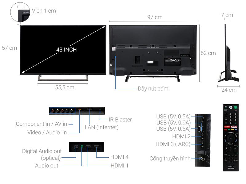 Thông số kỹ thuật Android Tivi Sony 4K 43 inch KD-43X7500E