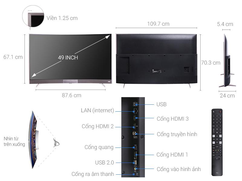 Thông số kỹ thuật Smart Tivi TCL 49 inch L49P3-CF