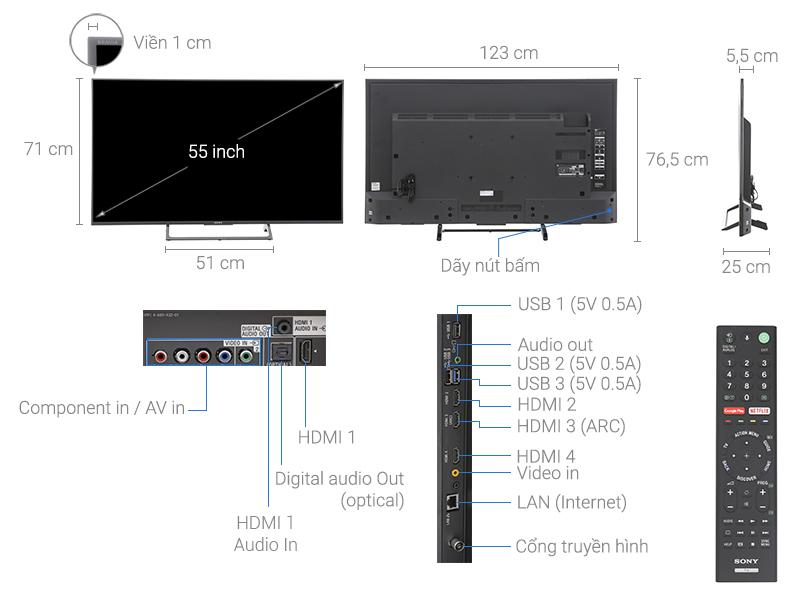 Thông số kỹ thuật Smart Tivi Sony 4K 55 inch KD-55X8500E