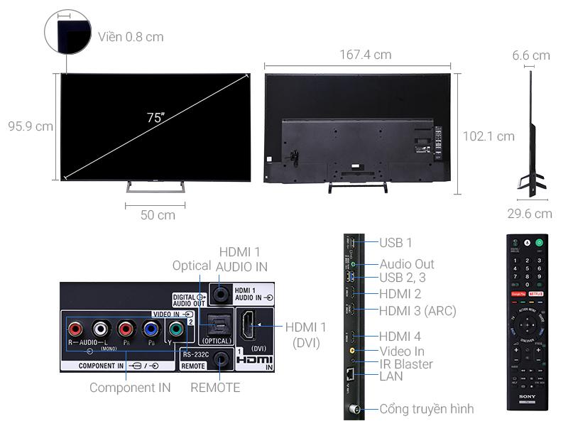 Thông số kỹ thuật Smart Tivi Sony 4K 75 inch KD-75X8500E