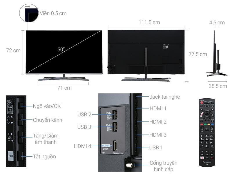 Thông số kỹ thuật Smart Tivi Panasonic 4K 50 inch TH-50EX750V