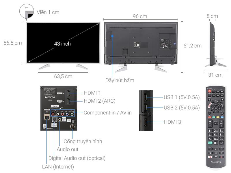 Thông số kỹ thuật Smart Tivi Panasonic 43 inch TH-43ES630V