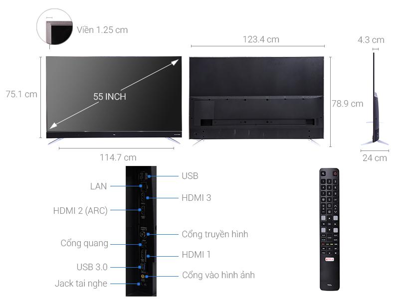 Thông số kỹ thuật Smart Tivi TCL 4K 55 inch 55C2-UF