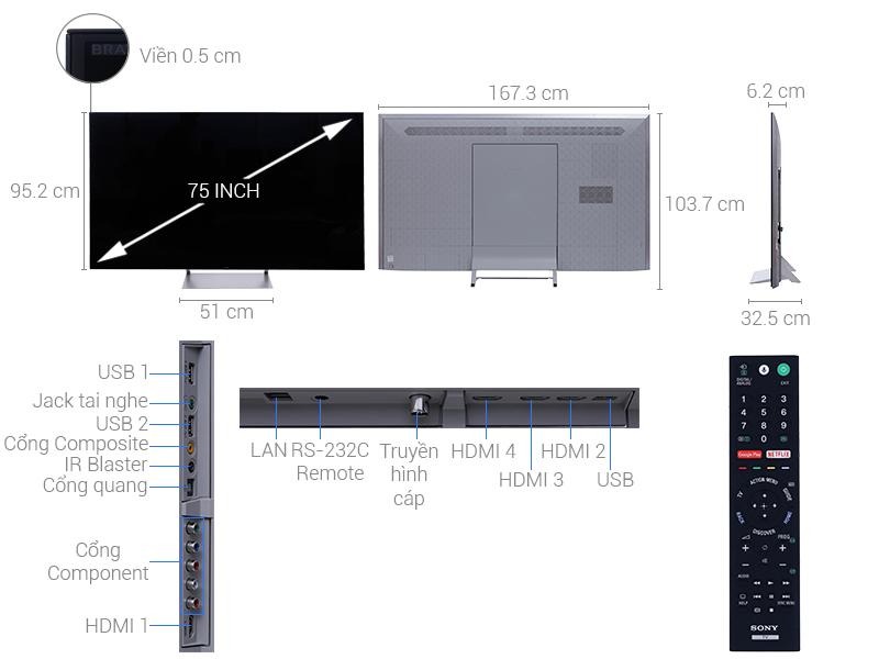 Thông số kỹ thuật Android Tivi Sony 4K 75 inch KD-75X9400E