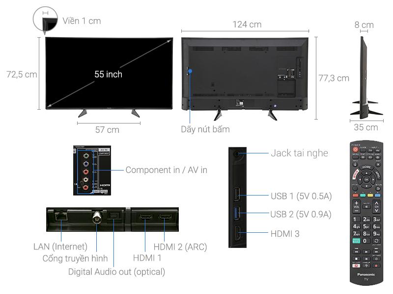 Thông số kỹ thuật Smart Tivi Panasonic 4K 55 inch TH-55EX600V