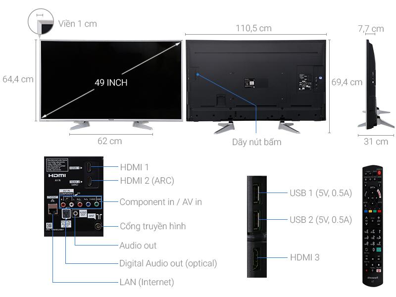 Thông số kỹ thuật Smart Tivi Panasonic 49 inch TH-49ES630V