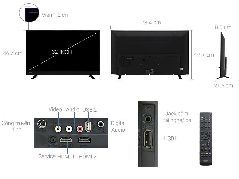 Thông số kỹ thuật Tivi Toshiba 32 inch 32L3750