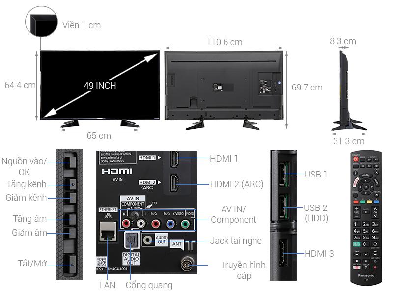Thông số kỹ thuật Smart Tivi Panasonic 49 inch TH-49ES600V