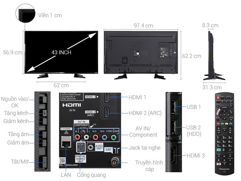 Thông số kỹ thuật Smart Tivi Panasonic 43 inch TH-43ES600V