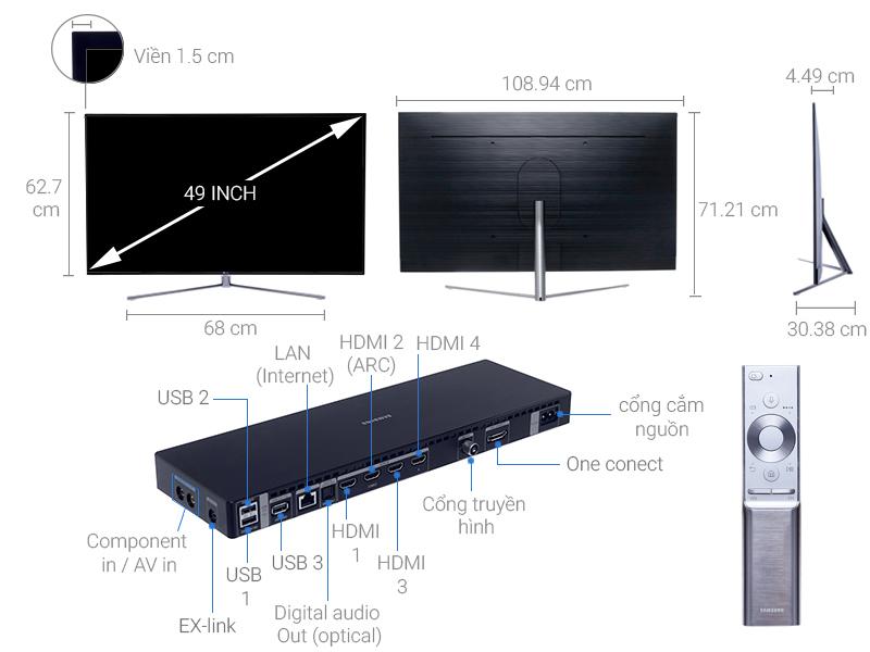 Thông số kỹ thuật Smart Tivi QLED Samsung 4K 49 inch QA49Q7F