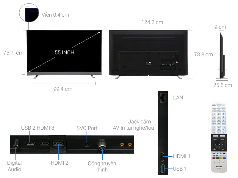 Thông số kỹ thuật Smart tivi Toshiba 4K 55 inch 55U6750
