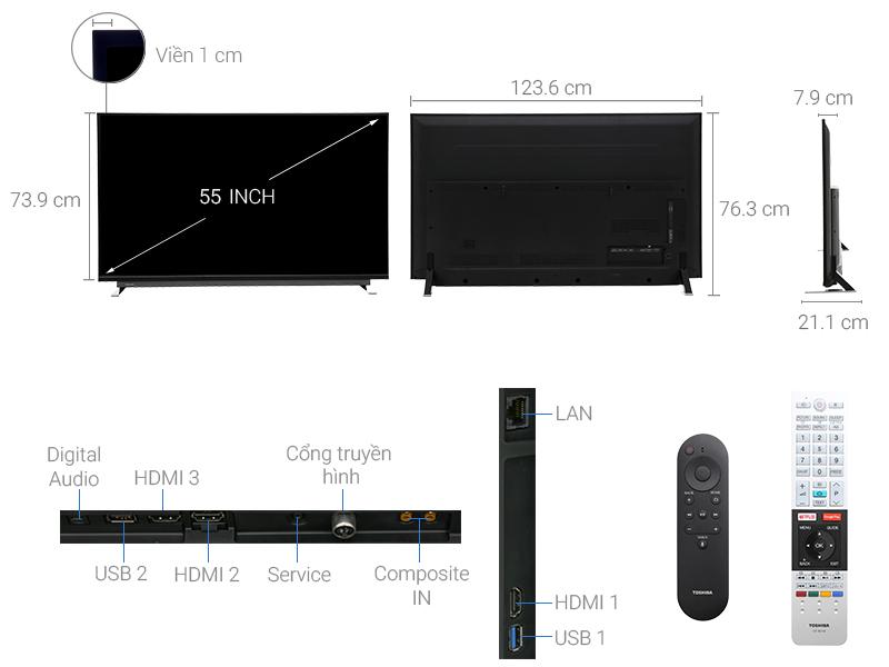 Thông số kỹ thuật Androi Tivi Toshiba 55U7750