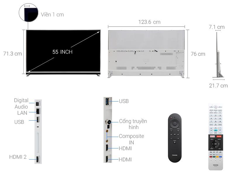 Thông số kỹ thuật Android Tivi Toshiba 4K 55 inch 55U9750
