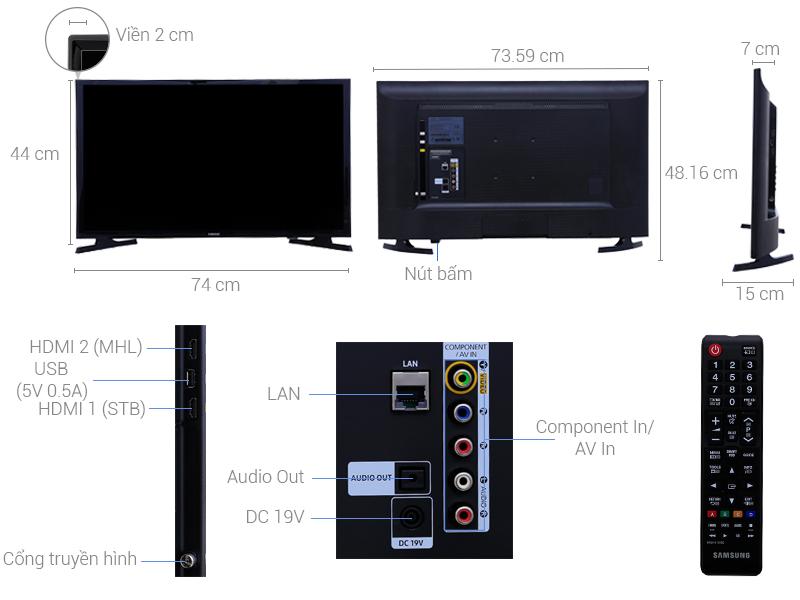 Thông số kỹ thuật Smart Tivi Samsung 32 inch UA32J4303D