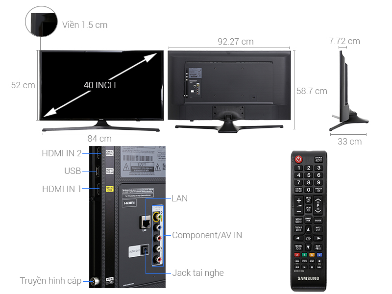 Thông số kỹ thuật Smart Tivi Samsung 40 inch UA40J5200D