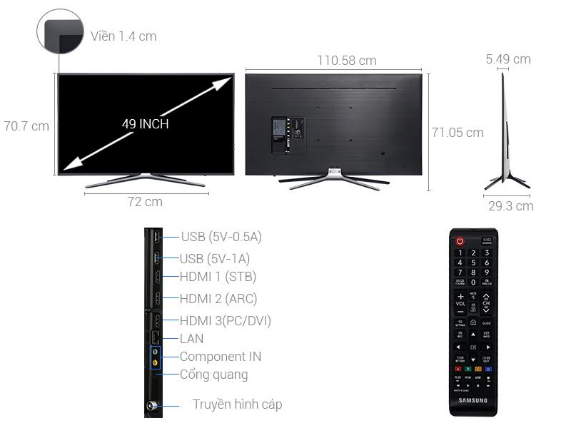 Thông số kỹ thuật Smart Tivi Samsung 49 inch UA49M5523