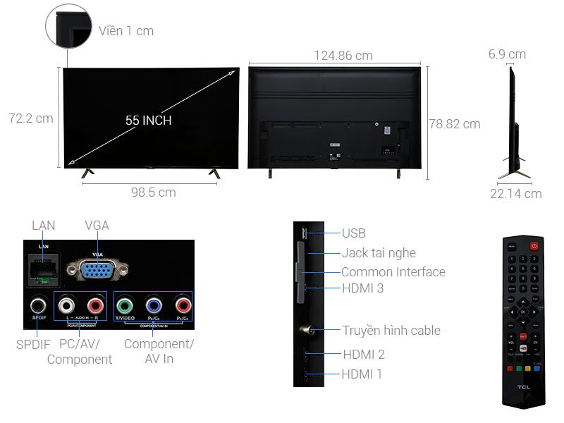 Thông số kỹ thuật Smart Tivi TCL 55 inch L55S4900