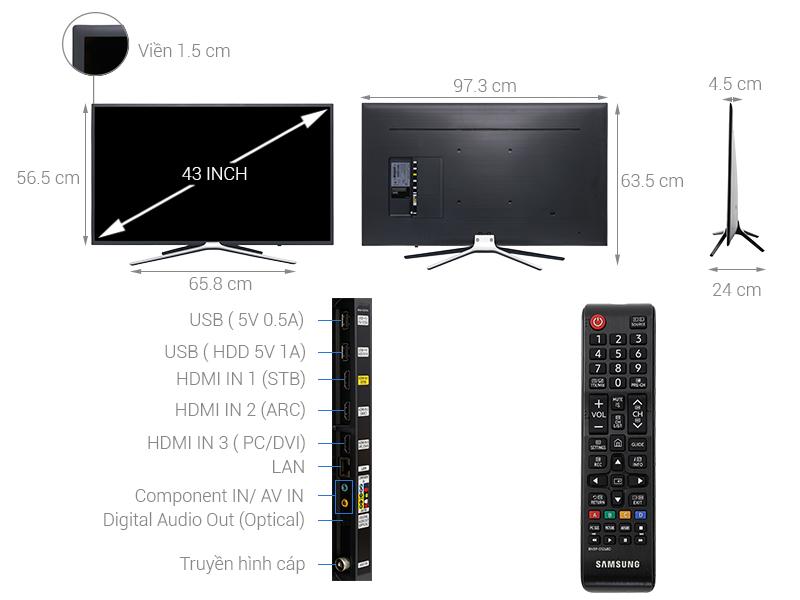 Thông số kỹ thuật Smart Tivi Samsung 43 inch UA43M5503