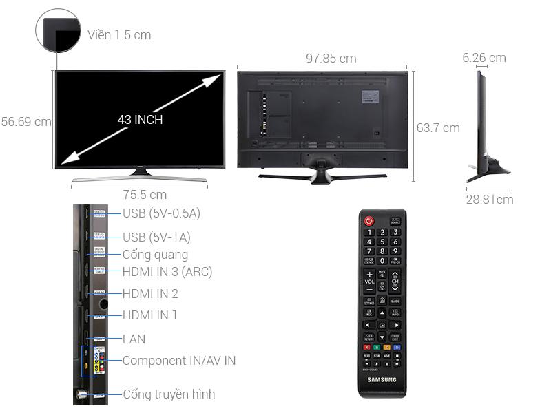 Thông số kỹ thuật Smart Tivi Samsung 4K 43 inch UA43MU6103