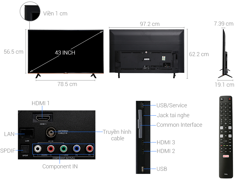 Thông số kỹ thuật Smart Tivi TCL 43 inch L43S62T