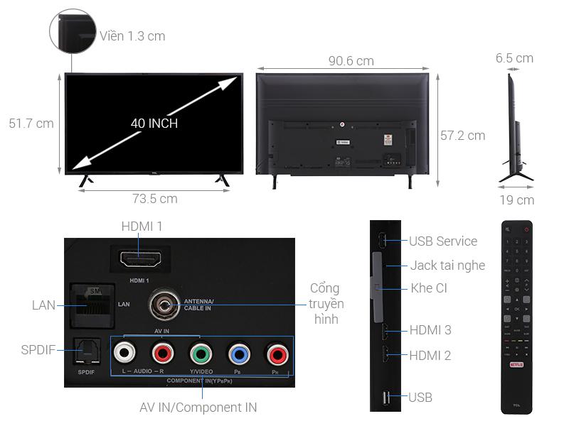 Thông số kỹ thuật Smart Tivi TCL 40 inch L40S62