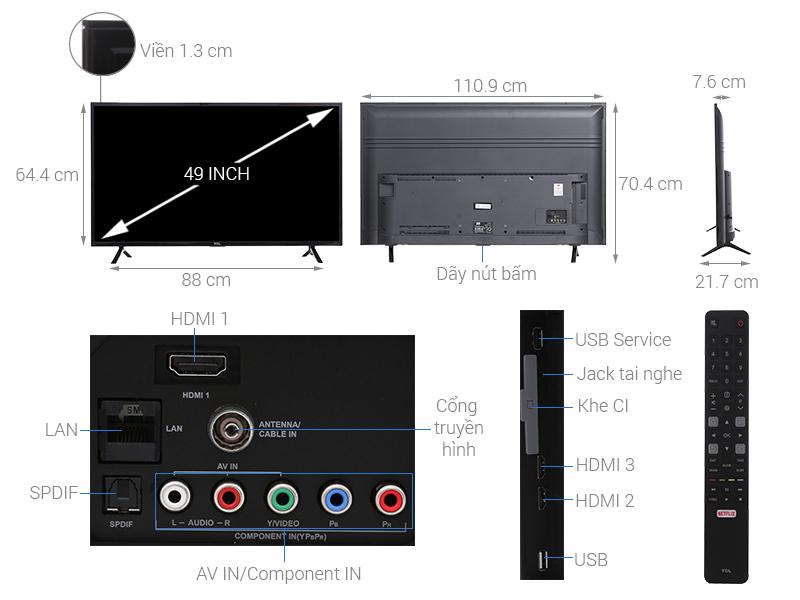 Thông số kỹ thuật Smart Tivi TCL 49 inch L49S62