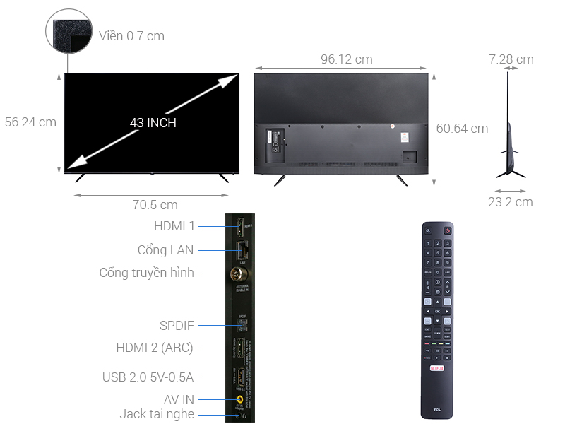 Thông số kỹ thuật Smart Tivi TCL 4K 43 inch L43P6-UF