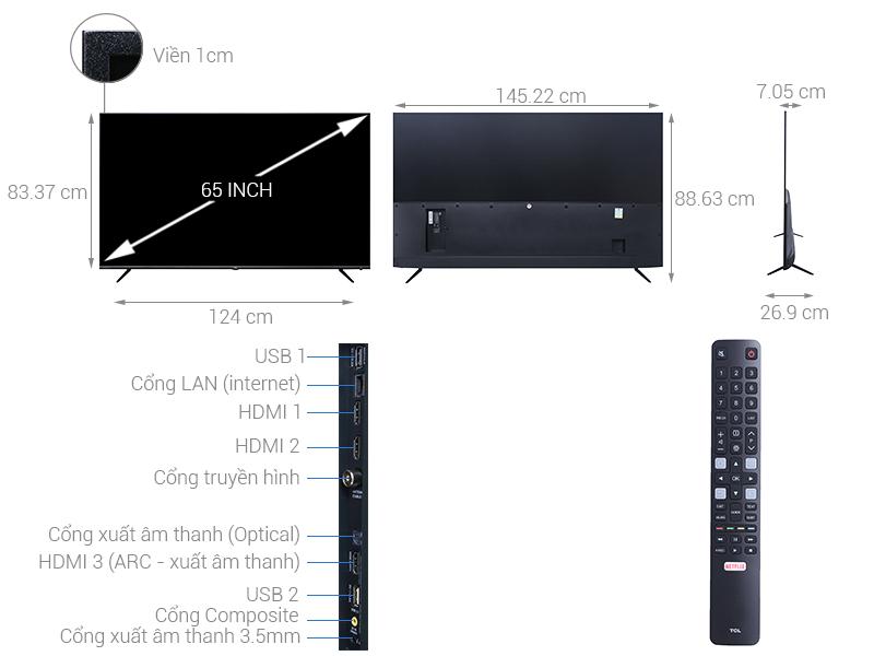 Thông số kỹ thuật Smart Tivi TCL 4K 65 inch L65P6