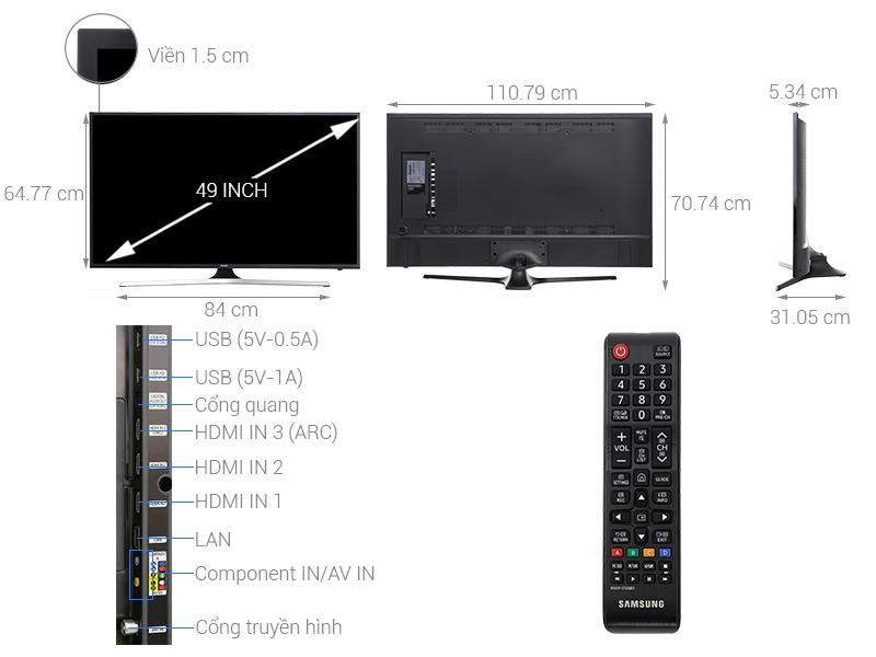 Thông số kỹ thuật Smart Tivi Samsung 4K 49 inch UA49MU6103