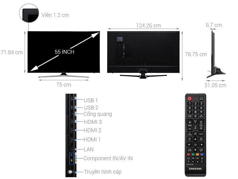 Thông số kỹ thuật Smart Tivi Samsung 4K 55 inch UA55MU6103