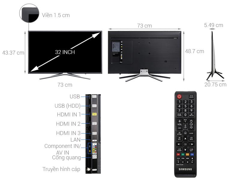 Thông số kỹ thuật Smart Tivi Samsung 32 inch UA32M5503