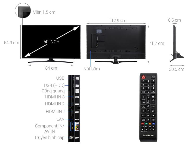 Thông số kỹ thuật Smart Tivi Samsung 4K 50 inch UA50MU6153