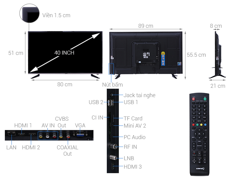 Thông số kỹ thuật Smart Tivi Asanzo 40 inch 40AS330