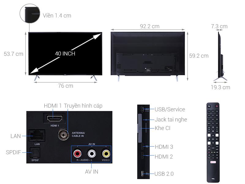 Thông số kỹ thuật Smart Tivi TCL 4K 40 inch L40P62-UF