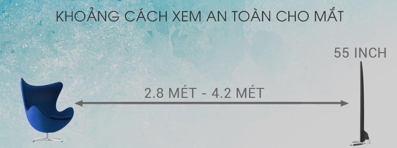 Smart Tivi TCL 4K 55 inch L55P6-UF - Khoảng cách hợp lý xem tivi